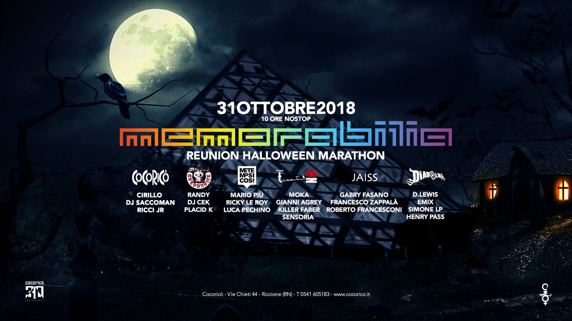 Memorabilia Reunion Halloween Marathon Cocoricò Riccione