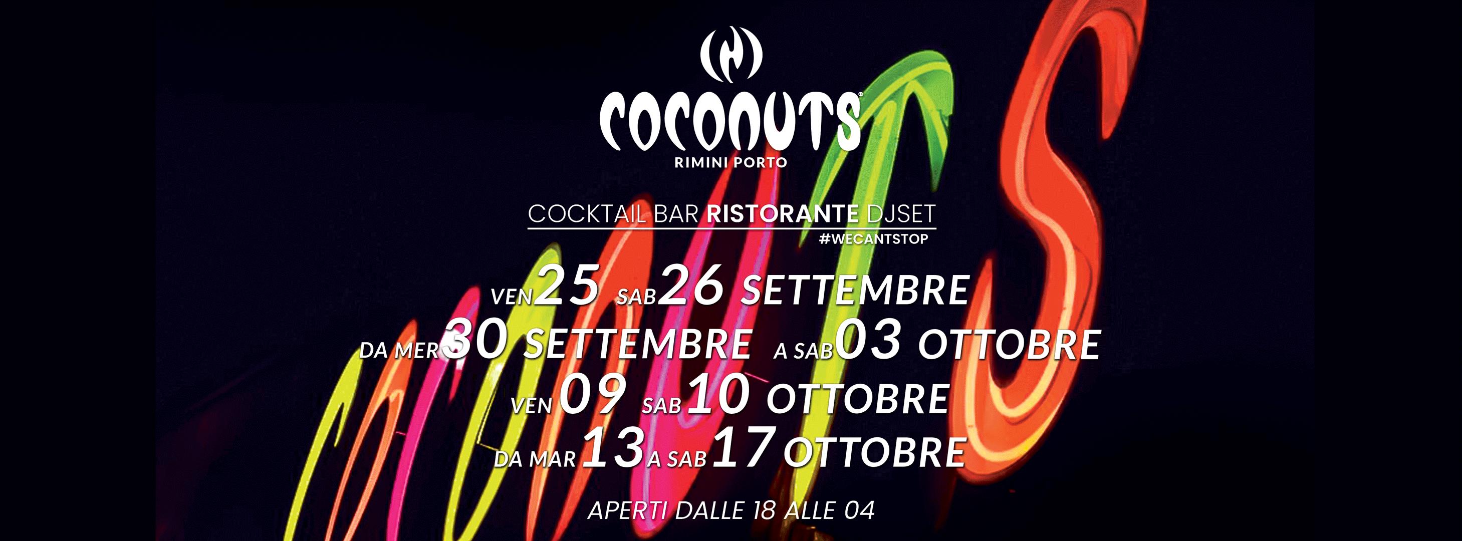 Coconuts Discoteca Rimini, ristorante, disco bar e musica
